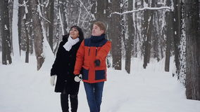 Young hipster couple having a walk in winter forest in slowmotion stock video footage