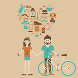Young hipster couple in love. Royalty Free Stock Images