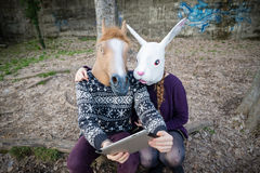 Young hipster cuople horse and rabbit mask using tablet Stock Photography