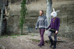 Young hipster cuople lovers rabbit mask Royalty Free Stock Photography