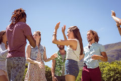 Young hipster friends dancing together Royalty Free Stock Photo