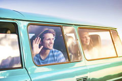 Young hipster friends on road trip Stock Photo