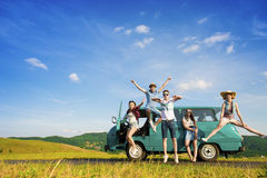 Young hipster friends on road trip royalty free stock image