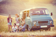 Young hipster friends on road trip Stock Images