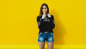 Young hipster girl with  ice-cream Stock Image
