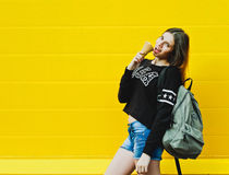 Young hipster girl with  ice-cream Royalty Free Stock Photos