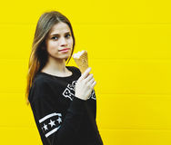 Young hipster girl with  ice-cream Stock Photos