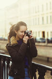 Young Hipster Girl With Retro Photo Camera Stock Photo