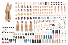 Young hipster girl in trench coat creation set or DIY kit. Set of body parts, stylish clothes, trendy accessories. Emotions. Female cartoon character. Front stock illustration