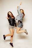 young hipster girls best friends jump Stock Photography
