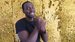 Young hipster handsome afroamerican black man dancing hip hop style. stock footage