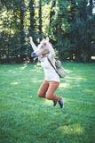 Young hipster horse mask woman in autumn Royalty Free Stock Photography
