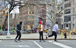 Young Hipster Kids Riding Skateboard in City Streets New York Lower East Side Downtown stock photography