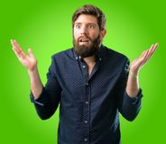 Young hipster man with beard and shirt stock image
