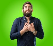 Young hipster man with beard and shirt stock images