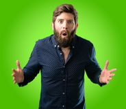 Young hipster man with beard and shirt stock photos