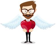 Young hipster-Man Inspired by Love Keeps the Heart Stock Images