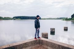 Young hipster man traveler hiking stock images