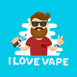 Young hipster man with vape. Flat vector illustration. vaping shop concept. Cloud letters I love vape Stock Photo
