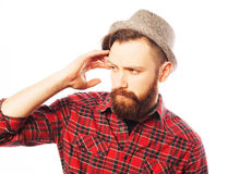 Young hipster man wearing hat Stock Photo