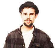 Young hipster man wearing hat Royalty Free Stock Photography