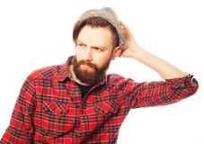 Young hipster man wearing hat Stock Photos