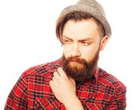 Young hipster man wearing hat Stock Images