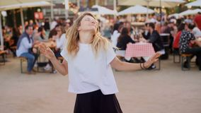 Young hipster millennial funny dance moves stock video