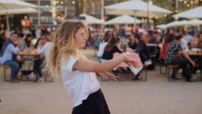 Young hipster millennial funny dance moves stock footage