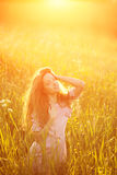 Young hipster model beauty woman, blowing Long Hair. Casual Girl Stock Photos