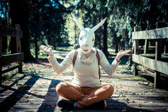 Young hipster rabbit mask woman in autumn Stock Photography
