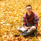 Young hipster relaxed in nature Stock Images