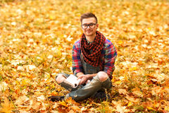 Young hipster relaxed in nature Royalty Free Stock Photo