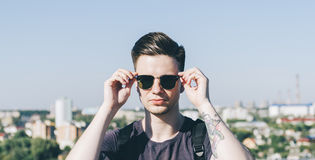 Young Hipster On The Roof Royalty Free Stock Photos