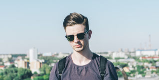 Young Hipster On The Roof Stock Image