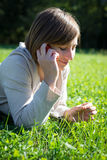 Young hipster short hair woman on the phone Stock Photos