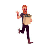 Young hipster in star glasses hurrying to party Stock Image