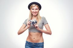 Young hipster woman in funky clothes Royalty Free Stock Images