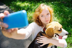 Young hipster woman making selfie photo with Beagle dog Stock Image