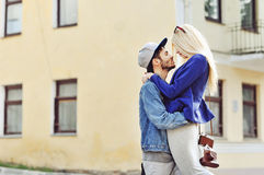Young hipsters couple in love outdoor Stock Photo