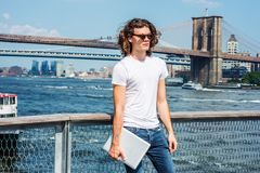 Young Hispanic American Man traveling in New York Royalty Free Stock Photo