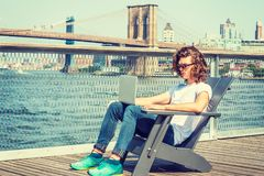 Young Hispanic American Man traveling in New York Royalty Free Stock Photos