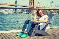 Young Hispanic American Man traveling in New York Royalty Free Stock Image