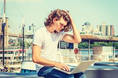 Young Hispanic American Man traveling, working in New York Stock Photos