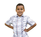 Young Hispanic Boy on White. Handsome Young Hispanic Boy Isolated on a White Background Royalty Free Stock Photography