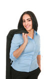 Young Hispanic Businesswoman on Isolated White Stock Image