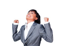 Young hispanic businesswoman with open hands Royalty Free Stock Images