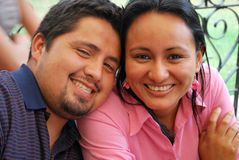 Young Hispanic couple. A cute, young HIspanic couple together at a cafe Stock Image