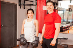 Young Hispanic couple doing some boxing Royalty Free Stock Images