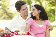 Young Hispanic Couple Enjoying Picnic In Park Stock Image